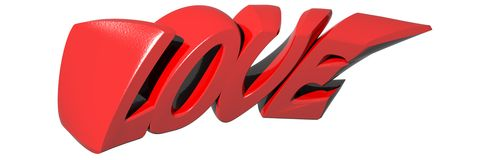 LOVE written with red 3D letters on white background - 3D rendering. LOVE written with red funny 3D letters on white background - 3D rendering stock illustration