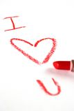 Love written in red lipstick Stock Image