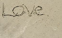 Love written in the sand Royalty Free Stock Photo