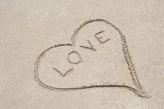 Love Written In Sand Royalty Free Stock Photos
