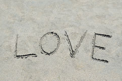 Love written in the sand Royalty Free Stock Image