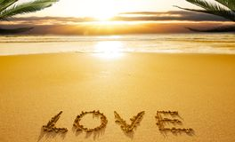 Love written in sands royalty free stock photography