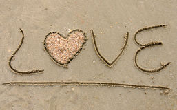 Love written on sandy beach Royalty Free Stock Photos
