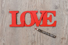 Love written on wood royalty free stock photos