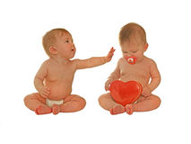 Love ya babe!. Two babies on a valentine's date. can easily be used separately too stock image