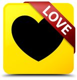 Love yellow square button red ribbon in corner. Love isolated on yellow square button with red ribbon in corner abstract illustration Stock Photo