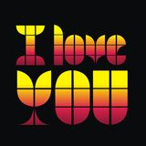 Love you 01. Consisting of yellow and love writing Bembe color graphics stock illustration