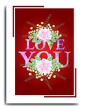 LOVE YOU TEXT EFFECT BACKGROUND WITH WATERCOLOR STYLE vector illustration