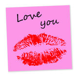 Love you. Pink note with spicy love message Stock Photo