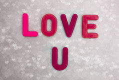 Love you. Love u message with fridge magnets Royalty Free Stock Photos