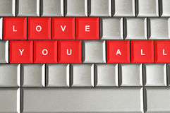 Love you all  spelled on metallic keyboard. For Valentine's day Royalty Free Stock Photo