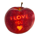 Love You Apple. An image of an isolated apple with the text i love you Stock Images