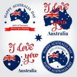 We love you Australia badge, label, logo, greeting Card. Nationa Royalty Free Stock Images