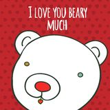 Love you beary much hand drawing greeting card Stock Photos