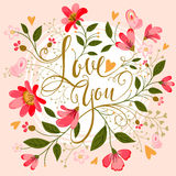 Love you. Beautiful floral love you calligraphic romantic message Stock Photo