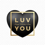 Love You Black Premium Vector Heart on Transparent Background. Golden Modern Typography Valentines Day Greetings in a Stock Photo