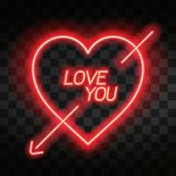 Love you. Bright neon heart. Heart sign with cupid arrow on dark transparent background. Neon glow effect. Vector Stock Photo