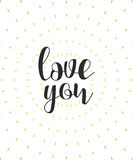Love you calligraphic phrase. Quote calligraphy. Elegant inscription Royalty Free Stock Images