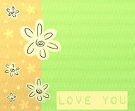 Love you card. Love you greeting card with flowers royalty free illustration