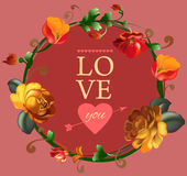 Love you card with beautiful vintage flowers Stock Images