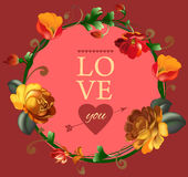 Love you card with beautiful vintage flowers Royalty Free Stock Image