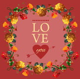 Love you card with beautiful vintage flowers Royalty Free Stock Images