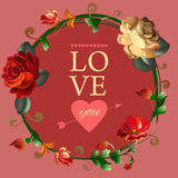 Love you card with beautiful vintage flowers Royalty Free Stock Photos