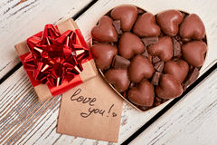 Love you card and chocolates. Royalty Free Stock Images