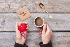Love you card and coffee. Stock Images
