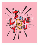 Love you  card design rings Stock Image