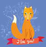 Love you card with fox and flowers - retro design illustration Stock Photography