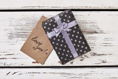 Love you card and gift. Stock Photos