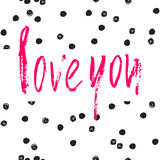 Love you card. Ink illustration. Royalty Free Stock Image