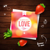 Love You card. Romantic design on wooden background. Vector imag Royalty Free Stock Image