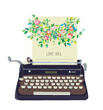 Love you card with typewriter and flower - conceptual illustrati Stock Photos