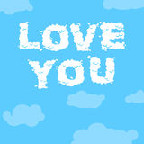 Love you. Cloud text. inscription of white clouds in blue sky Royalty Free Stock Images
