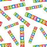Love you colorful card seamless pattern background.  Royalty Free Stock Image