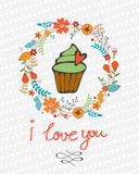 Love you concept card with cupcake in floral wreath Royalty Free Stock Images
