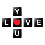 Love you crossword by scrabble tiles Royalty Free Stock Image