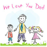 We love you Dad Father's day doddle greeting card Stock Photos