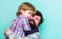 Love you dad. father and son embrace. happy family leisure. small boy hug dad. love to be together. child development. You are my world. You do not want to hug stock photo