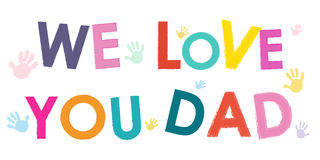 We Love You Dad. Happy Father's Day card with hand prints vector Royalty Free Stock Photo
