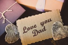 Love you Dad Letter Happy fathers day present gift hipster vintage man Royalty Free Stock Photography