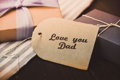 Love you Dad Letter Happy fathers day present gift hipster vintage man. Table stock photography