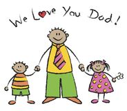 We love you dad tan skin tone. Family - cartoon illustration Stock Images