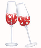 Love you declaration in glasses of wine Stock Image