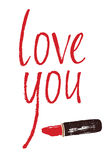 Love you design card with a red lipstick Stock Images