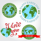 We love you Earth badge, label, logo, greeting Card. Happy Earth Royalty Free Stock Image