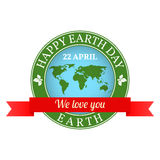 We love you Earth badge, label, logo, rubber stamp, greeting Car Royalty Free Stock Photo