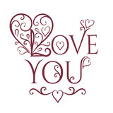 Love you with floral ornament Royalty Free Stock Photos